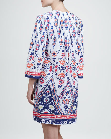 Bora Short Floral-Print Cotton Caftan