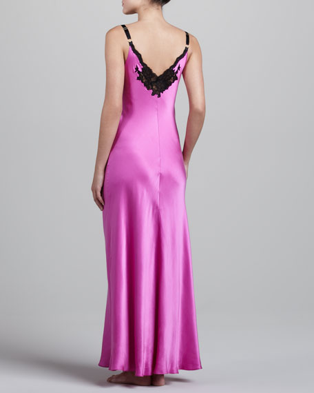Glamour Lace-Trim Silk Gown