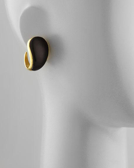 Curved Ebony Hoop Clip Earrings