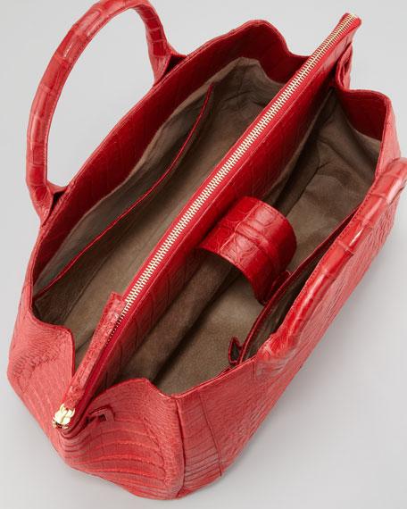 Cristina Crocodile Shoulder Tote Bag, Red