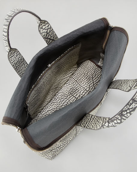 31-Hour Fold-Over Grain Leather Tote Bag, Black/White