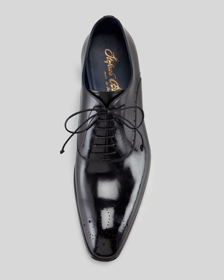 Medallion-Toe Lace-Up, Black