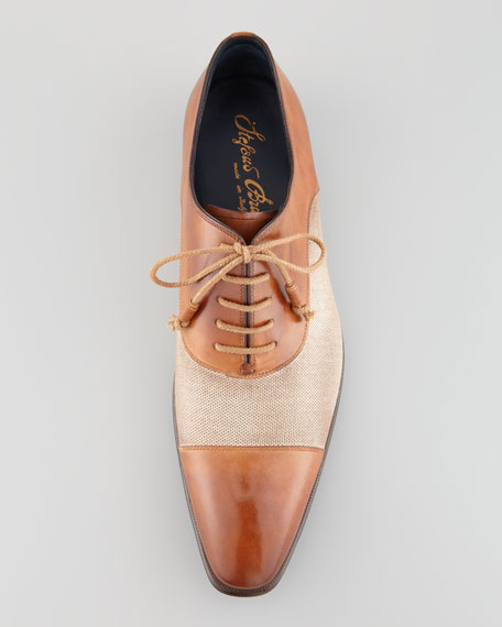 Leather & Linen Cap-Toe Oxford, Tan