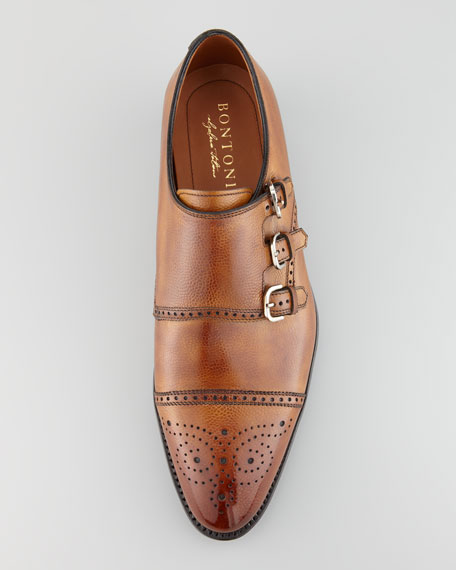 Excelsior Perforated Triple-Buckle Monk-Strap Loafer