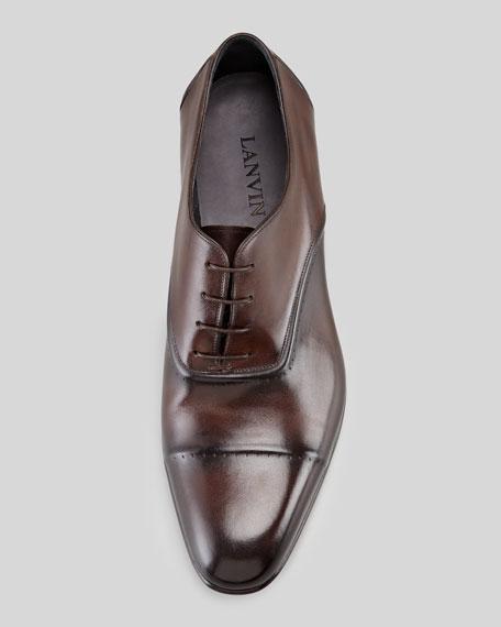 Torsade Cap-Toe Oxford Loafer, Dark Brown
