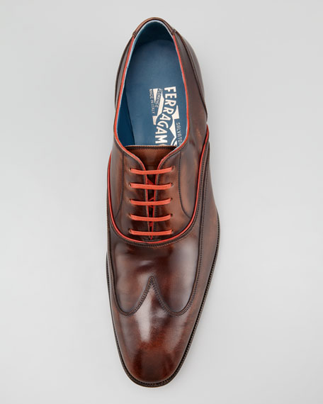 Tyler Wing-Tip Lace-Up, Light Brown/Orange