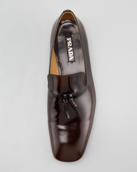 Spazzolato Tassel Loafer, Red Brown