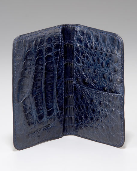 Crocodile Card Case, Navy