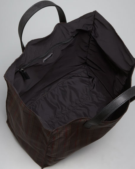 Plaid Nylon Tote Bag, Brown Plaid