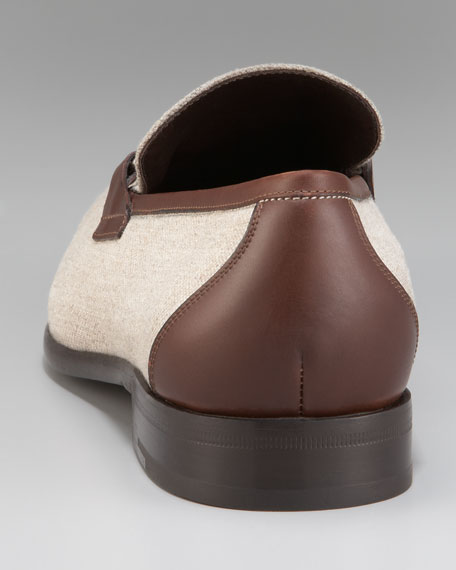 Berto Linen/Leather Loafer