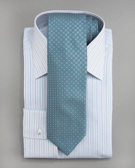 Striped Dress Shirt, White/Aqua