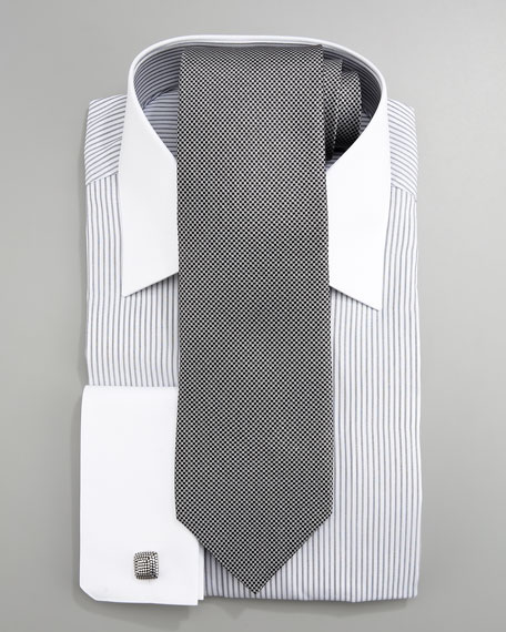 French-Cuff Striped Dress Shirt, Gray/White