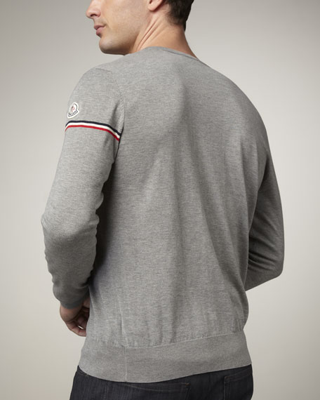 Flag-Sleeve Sweater, Heather Gray