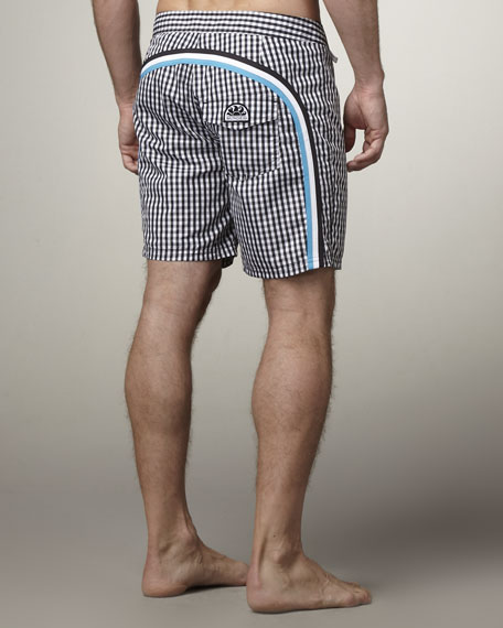 Rainbow Gingham Swim Trunks