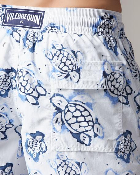 Moorea Turtle Swim Trunks, White/Blue