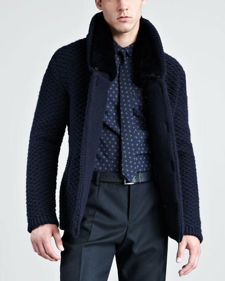 Fur-Lined Knit Jacket