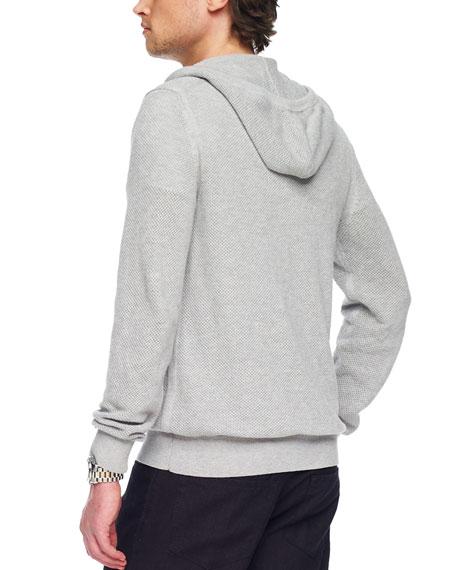 Waffle-Knit Zip Sweater
