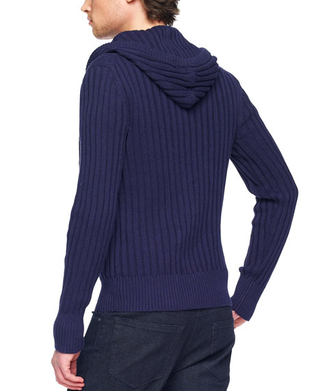Hooded Rib-Knit Sweater