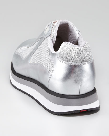 Metallic Sport Sneaker with Micro Sole