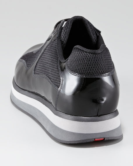 Patent Sport Sneaker with Micro Sole