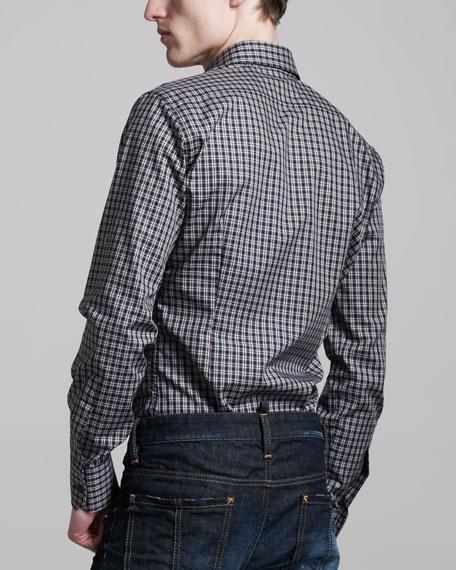 Stretch-Cotton Check Sport Shirt, Blue/Brown