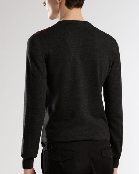 Web-Detail Crewneck Sweater, Black