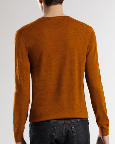 Wool V-Neck Sweater with Inside Web Detail, Saffron