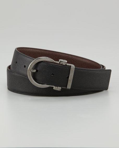 Textured Reversible Belt, Auburn/Black