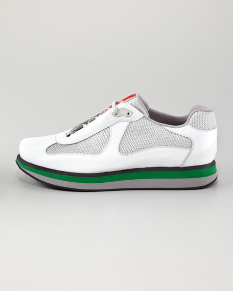 Colored-Sole Low-Top Sneaker, White