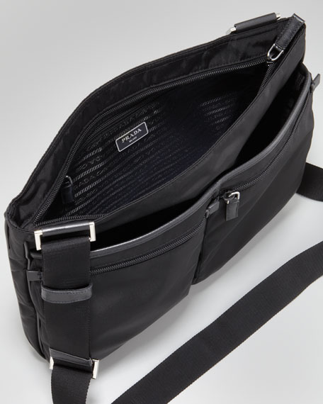 Zip-Top Nylon Messenger Bag