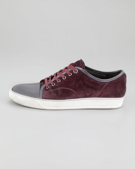 Velour Patent-Trim Sneaker
