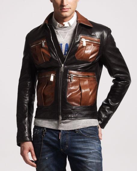 Contrast-Pocket Leather Bomber Jacket