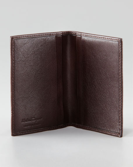 Crackle Fold Card Case, Brown