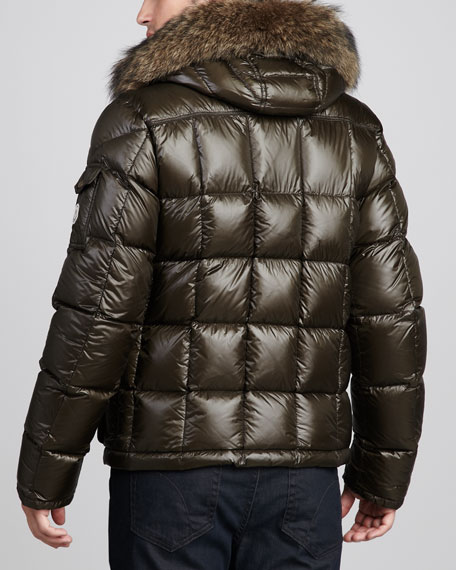 Hubert Fur-Trim Hooded Bomber Jacket