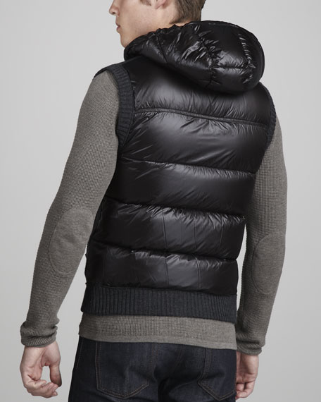 Knit-Front Puffer Vest