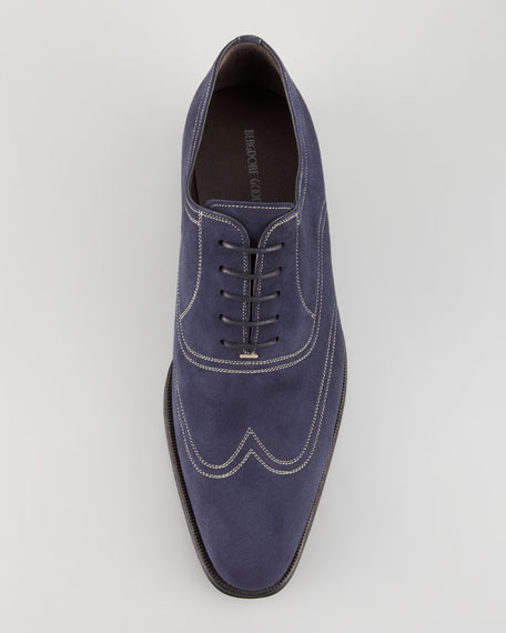Topstitched Suede Wing-Tip