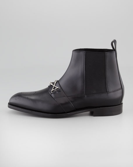 Crossbone Leather Ankle Boot, Black