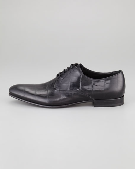 Crocodile-Embossed Oxford, Black