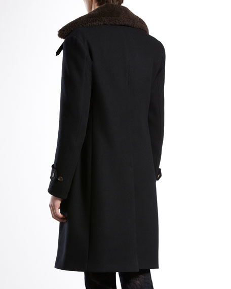 Pea Coat with Detachable Shearling Collar