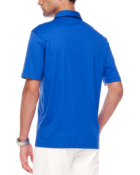 Woven-Trim Polo, Royal