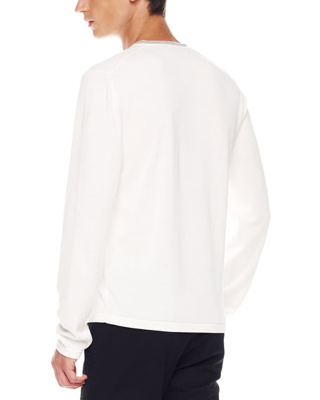 Tipped V-Neck Sweater, White