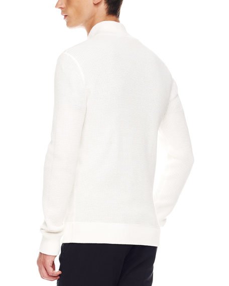 Thermal Zip Sweater, White