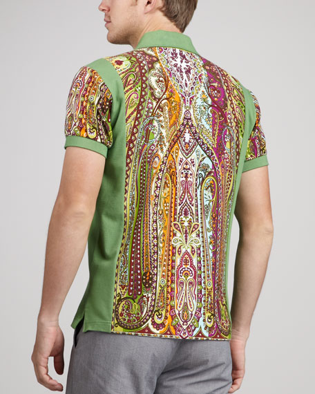 Paisley-Print Polo, Green