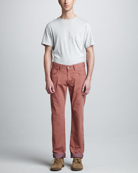 Straight Twill Pants, Carnelian Red