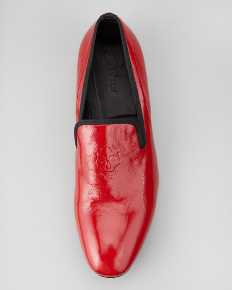 Skull-Embossed Patent Loafer, Tomato