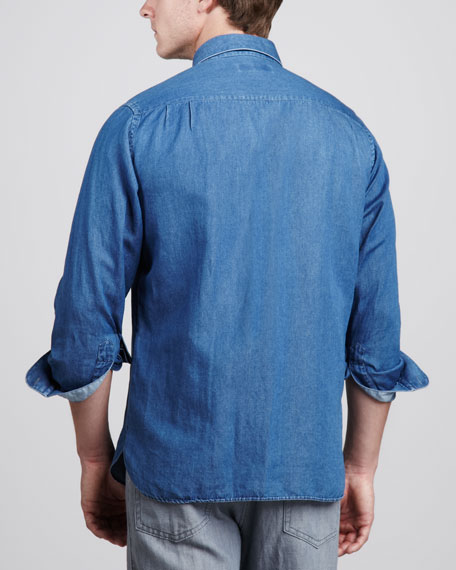 Cotton/Linen Sport Shirt, Denim