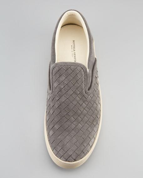 Woven Suede Sneaker, Gray