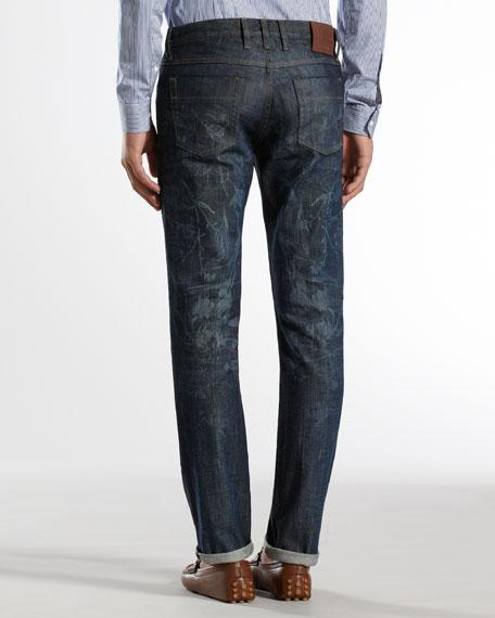 Floral Laser-Print Skinny Jeans