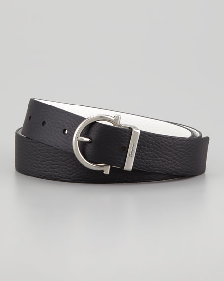 Reversible Gancini Belt, Black/White