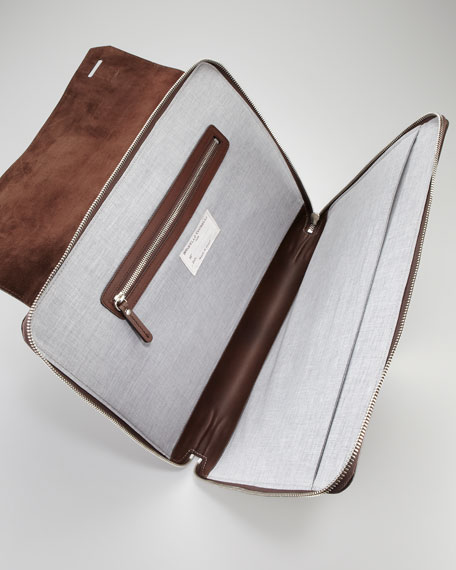 Leather Zip Portfolio Case